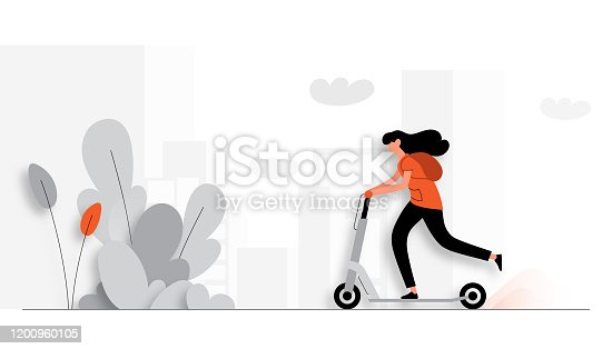 istock Vector Illustration of Young Woman Riding Electric Scooter. Flat Modern Design for Web Page, Banner, Presentation etc. 1200960105