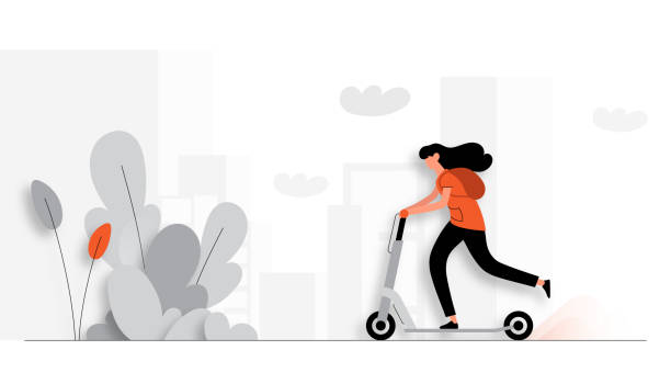illustrazioni stock, clip art, cartoni animati e icone di tendenza di vector illustration of young woman riding electric scooter. flat modern design for web page, banner, presentation etc. - monopattino elettrico