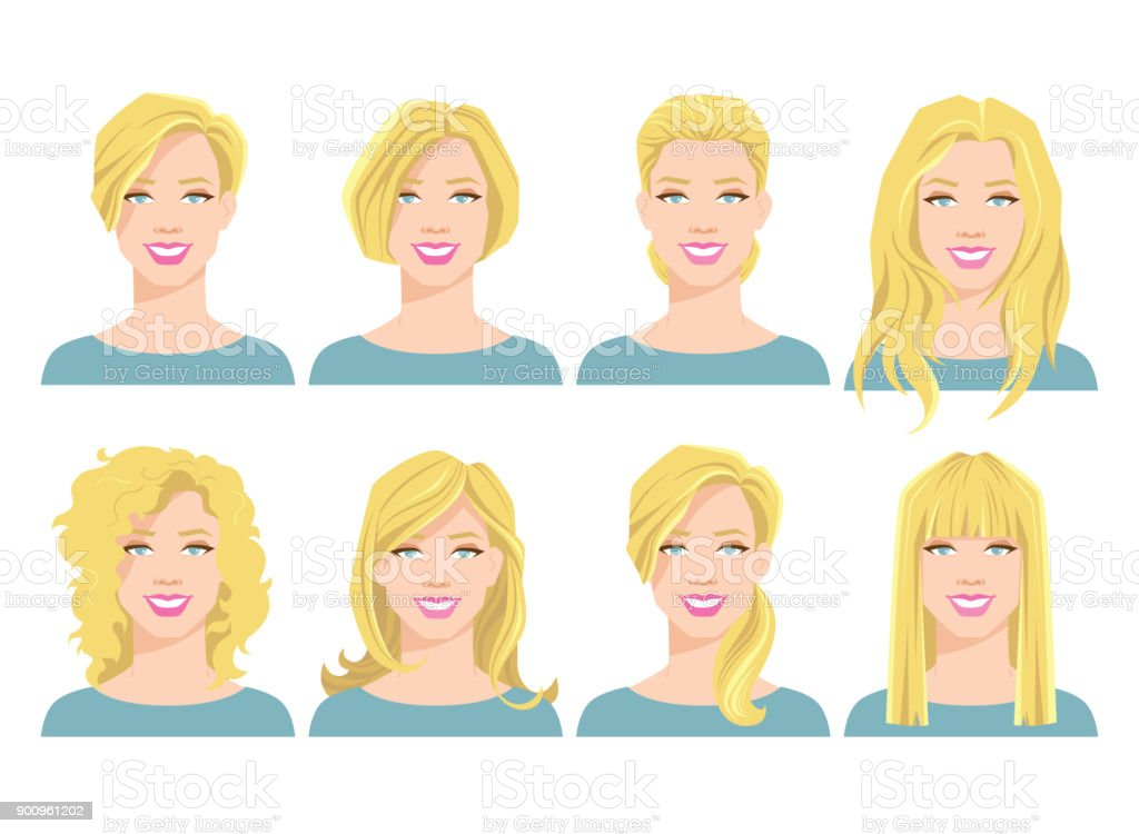 vector illustration of young woman's face with different hair style vector art illustration