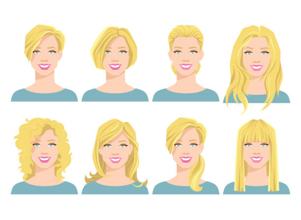 vector illustration of young woman's face with different hair style vector illustration of young woman's face with different hair style on white background bangs stock illustrations