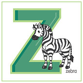istock Vector illustration of Zebra isolated on a white background. With the capital letter Z for use as a teaching and learning media for children to recognize English letters Or for children to learn to write letters Used to learn at home and school. 1269993753