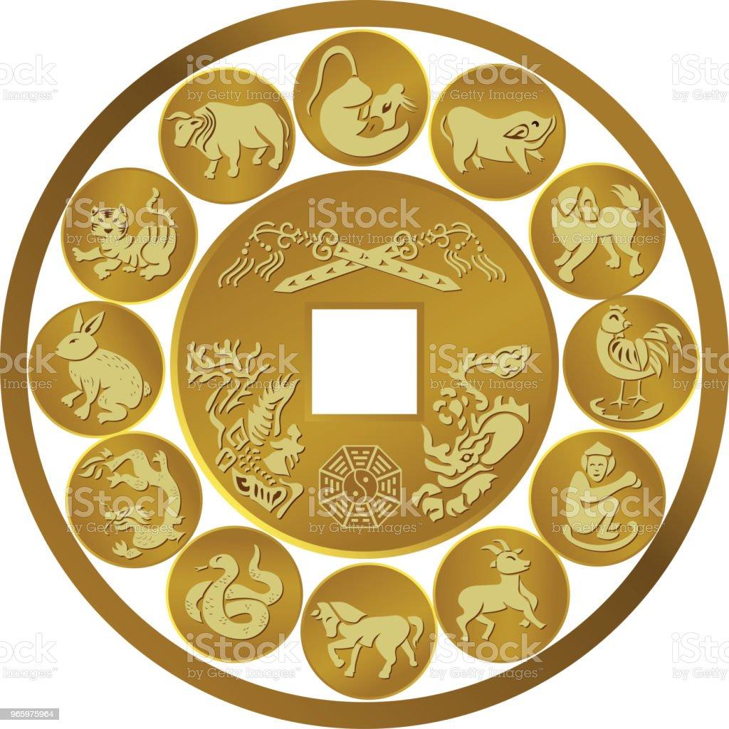 Vektor-Illustration der Münze Tierkreiszeichen - Lizenzfrei Astrologie Vektorgrafik