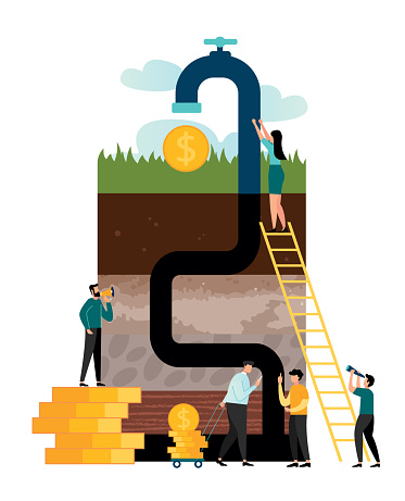 Vector illustration, oil and gas industry process, oil extraction, layers of soil in a section with a pipe and a faucet from which appear gold coins