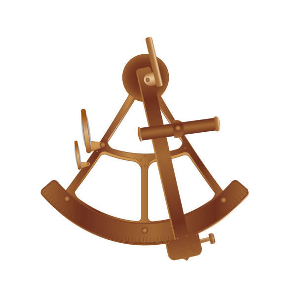 ilustrações de stock, clip art, desenhos animados e ícones de vector illustration. old bronze sextant isolated on white background - sextante