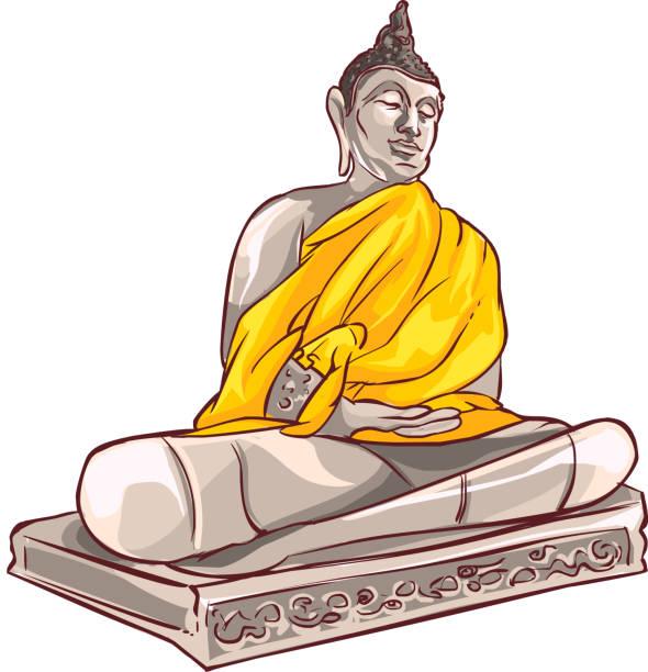 vektor-illustration alten buddha in der provinz ayutthaya thailand - ayutthaya stock-grafiken, -clipart, -cartoons und -symbole