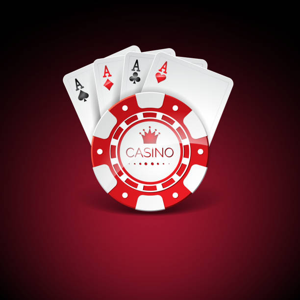 Vector illustration on a casino theme with red playing chips and playig cards on dark background. Gambling design elements. Vector illustration on a casino theme with red playing chips and playig cards on dark background. Gambling design elements. gambling chip stock illustrations