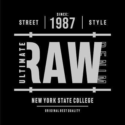 Vector illustration on a theme new york state college, raw and denim. Typography, t-shirt graphics, print