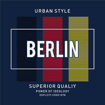 Vector illustration on a theme of BERLIN . Typography, t-shirt graphics, print, poster, banner, flyer, postcard