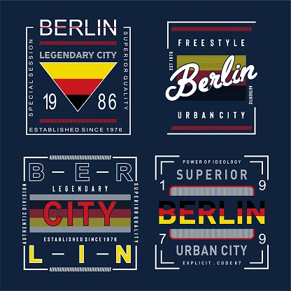 Vector illustration on a theme of BERLIN . Typography, t-shirt graphics, print, poster, banner, flyer, postcard -Vector.
