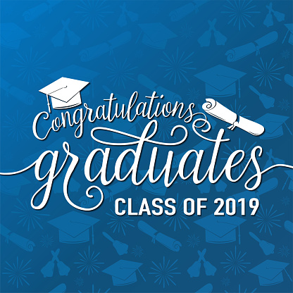 Vector illustration on seamless graduations background congratulations graduates 2019 class of, white sign for the graduation party. Typography greeting, invitation card with diplomas, hat, lettering
