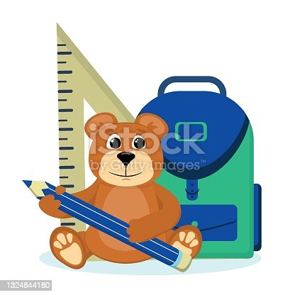 istock vector illustration on the back to school theme.Teddy bear with a school backpack and pencil in his hands, isolated on a white background. 1324844180