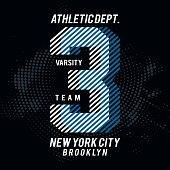 Vector illustration on the theme of athletic in New York City, Brooklyn. Vintage design. Grunge background. Number sport typography, t-shirt graphics, poster, print, banner, flyer, postcard.