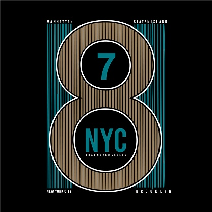 Vector illustration on the theme of athletic in New York City, Brooklyn. Vintage design. Grunge background. Number sport typography, t-shirt graphics, poster, print, banner, postcard - Vector