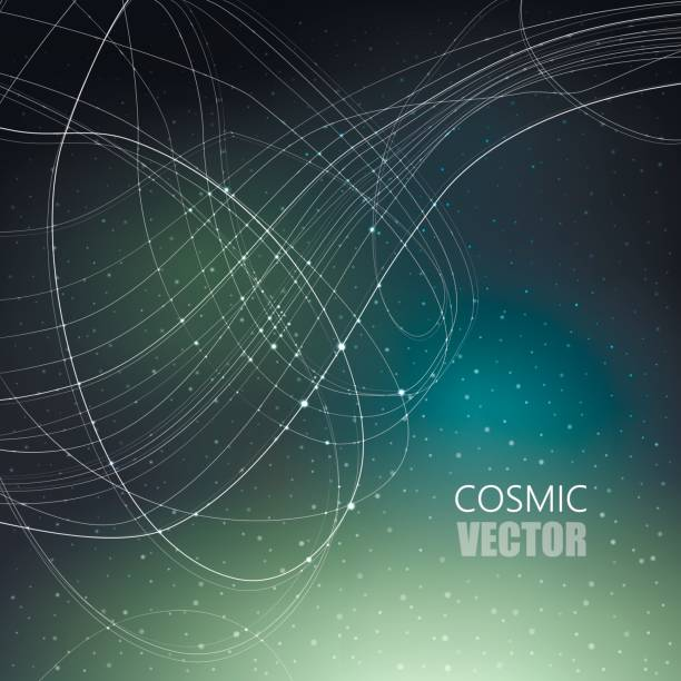 Vector illustration on the theme of cosmos, astronomy, constellation, data transmission. Structure of white curve intersecting thin lines on dark cosmic gradient mesh background with shining points. vector art illustration