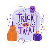 Vector illustration composition with lettering on the theme of Halloween. Inscription trick or treat, pumpkins and skull. Poster, poster, congratulation. Orange and purple colors. Hand-drawn style