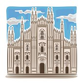 Abstract vector illustration on the theme of Milan cathedral