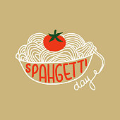 Decorated with a Lettering and bowl of spaghetti, tomato.