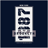 Vector illustration on the theme of New York Brooklyn. Typography, t-shirt graphics, print, poster, banner, flyer, postcard