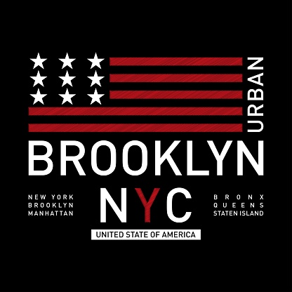 Vector illustration on the theme of New York City, Brooklyn. Stylized American flag. Typography, t-shirt graphics, poster, print, banner, flyer, postcard.