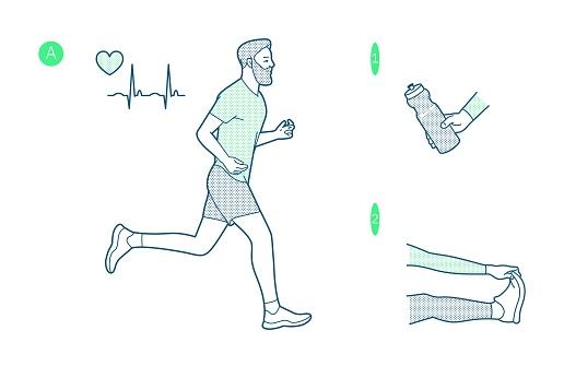 Vector illustration on the theme of running. Slogan. T-shirt graphics, poster, print, banner, flyer postcard motivational. The bearded man training.