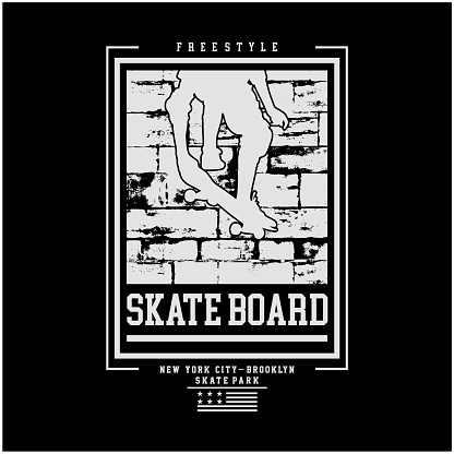 Vector illustration on the theme of skateboarding and skateboard in New York City. Vintage design. Grunge background. Typography,t-shirt graphics, print, poster, banner, flyer, postcard - Vector