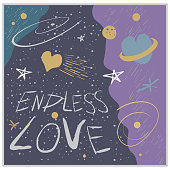 Vector illustration on the theme of space and love