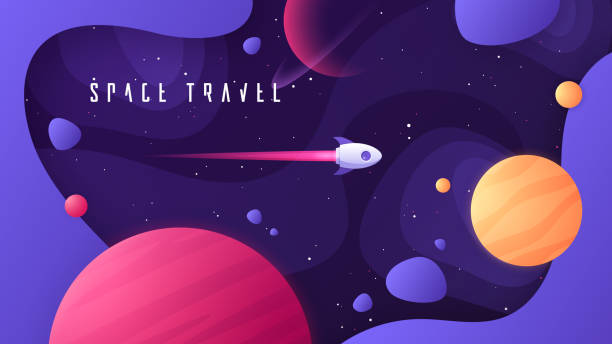 Vector illustration on the topic of outer space, interstellar travels, universe and distant galaxies Vector illustration on the topic of outer space, interstellar travels, universe and distant galaxies. planet space stock illustrations