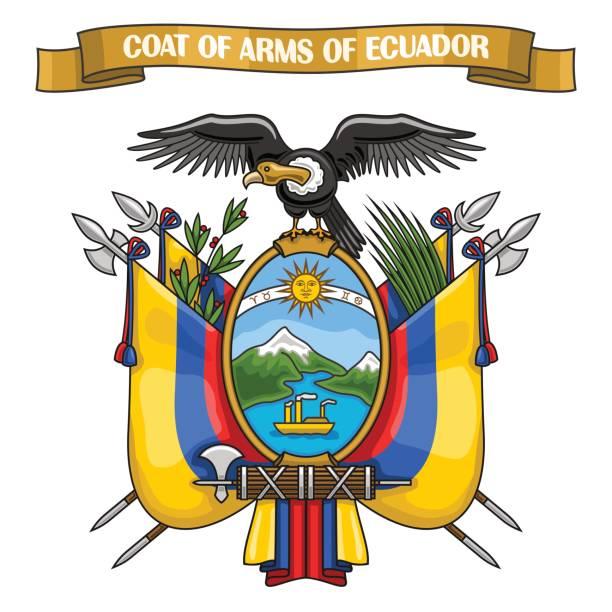 vektor-illustration zum thema ecuadorianischen wappen - flagge ecuador stock-grafiken, -clipart, -cartoons und -symbole