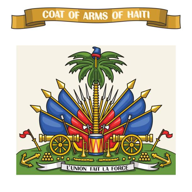 Vector illustration on theme Haitian Coat of Arms Vector illustration on theme Haitian Coat of Arms, heraldic shield on national state flags - Emblem of Haiti, on ribbon title text: coat of arms of haiti, haitian official heraldry, symbolic emblem. haiti stock illustrations
