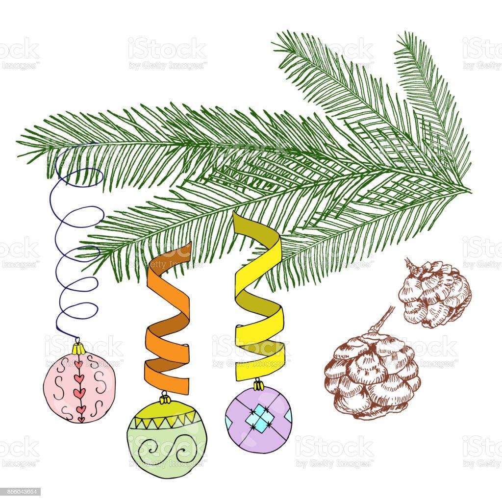 白の背景にベクトル イラストクリスマス装飾のモミの木クリスマスのモミ