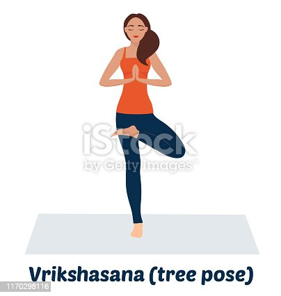 Vector illustration on white background. The girl practices yoga. A yogi stands in a tree pose. Asana on balance, maintaining balance. Search for inner harmony.