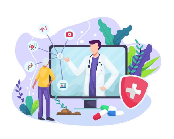 向量插圖 線上醫生 - 健康科技 幅插畫檔、美工圖案、卡通及圖標