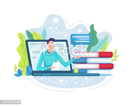 istock Vector illustration Online education or e-Learning concept 1212272730