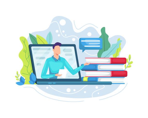 ilustrações, clipart, desenhos animados e ícones de ilustração vetorial educação online ou conceito de e-learning - só um homem jovem