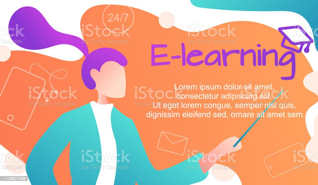 Vector Illustration. Online learning foreign languages, girl for...