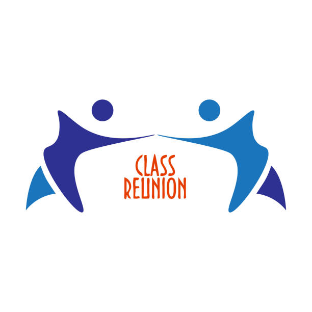 vector illustration or sign template: class reunion. great as invitation template for high school class reunion party. - reunion stock illustrations, clip art, cartoons, & icons