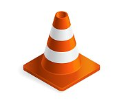 istock Vector illustration orange plastic traffic cone isolated on white background. Realistic orange road cone with stripes icon in flat cartoon style. 1306660773