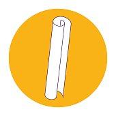 vector illustration orange round icon, scroll, piece of paper, l