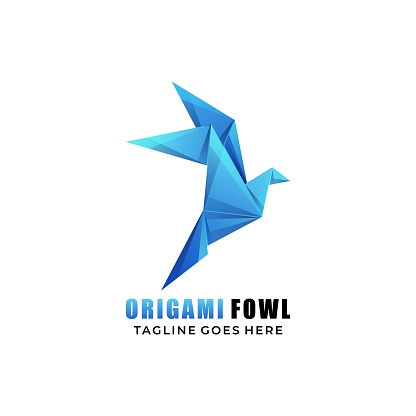 Vector Illustration Origami Fowl Gradient Colorful Origami Style.