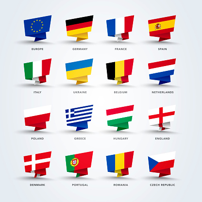 vector illustration origami pin flags of the world, europe set