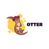 Vector Illustration Otter Simple Mascot Style.