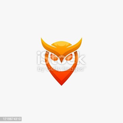 Vector Illustration Owl and Pin Gradient Colorful Style.