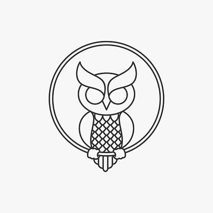 Vector Illustration Owl Circle Line Art Style.
