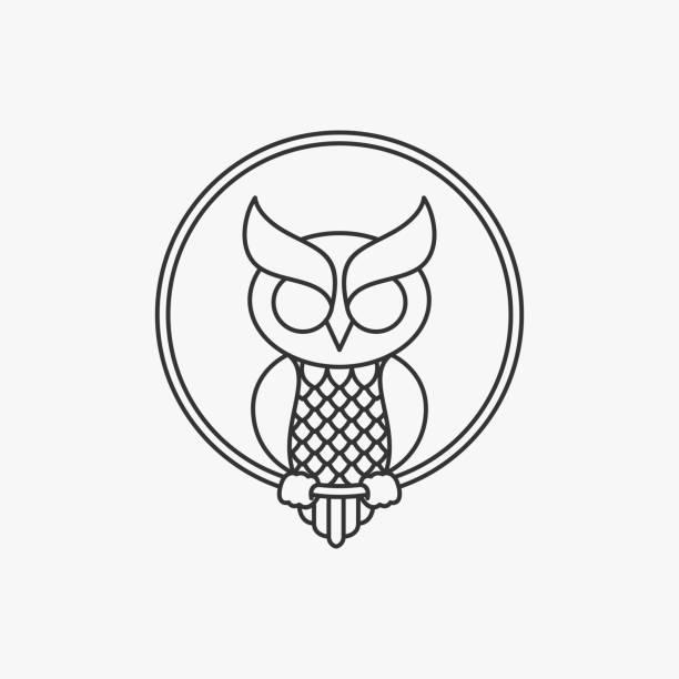 Vector Illustration Owl Circle Line Art Style. Vector Illustration Owl Circle Line Art Style. perching stock illustrations