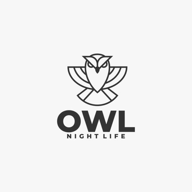 Vector Illustration Owl Flying Line Art Style. Vector Illustration Owl Flying Line Art Style. carnivorous stock illustrations