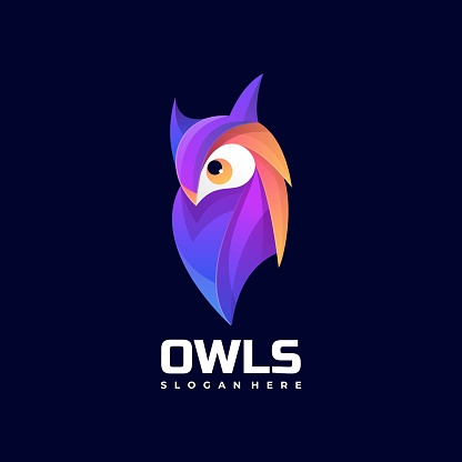 Vector Illustration Owl Gradient Colorful Style.