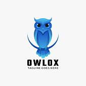 Vector Illustration Owl Ox Gradient Colorful Style.
