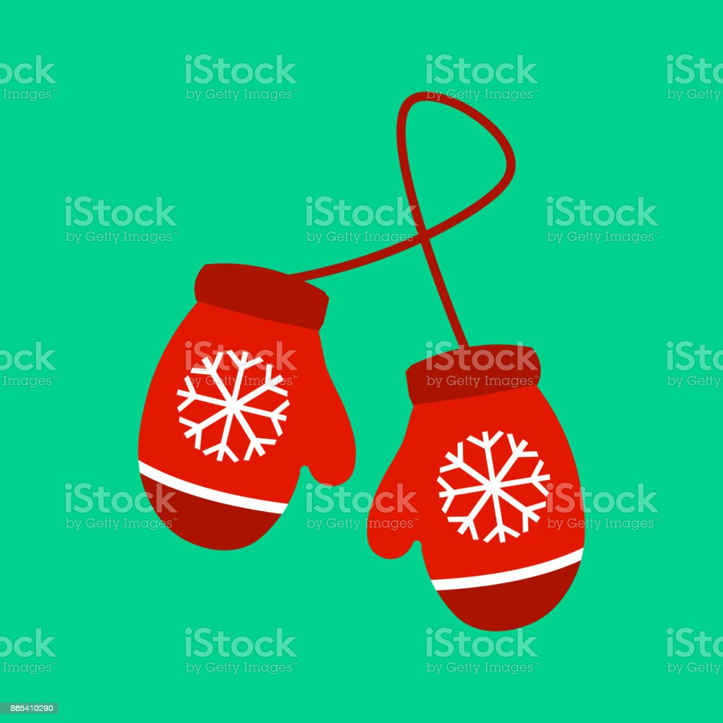 Vector illustration pair of knitted christmas mittens on green background. Mitten icon. Christmas greeting card with mittens vector art illustration
