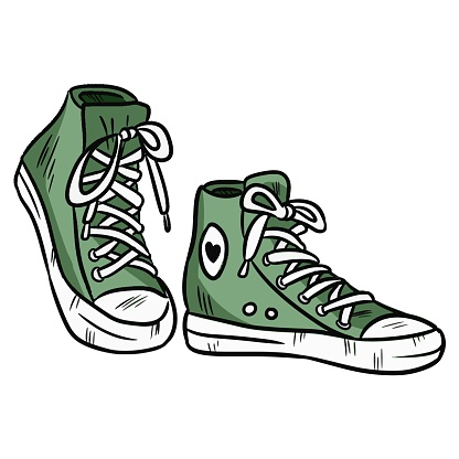 Vector illustration. Pair of textile hipster sneakers with rubber toe