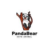 Vector Illustration Panda Bear Simple Mascot Style.